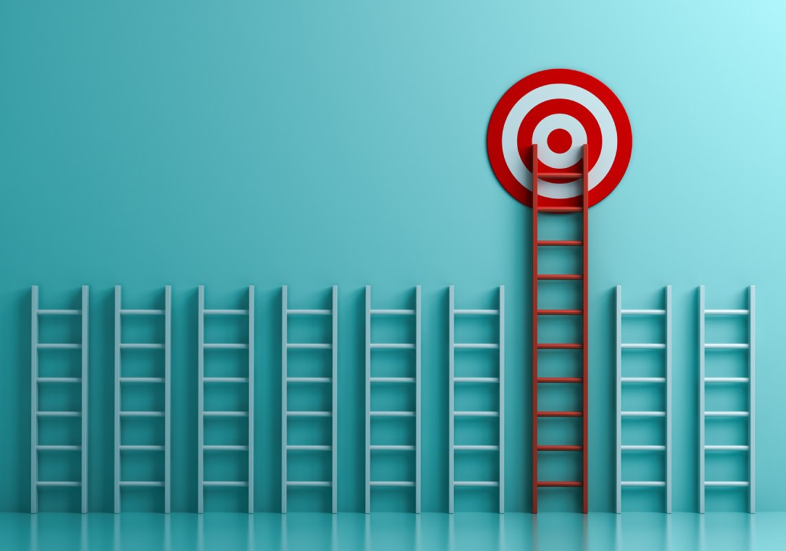 Long red ladder to goal target the business concept on blue pastel color background