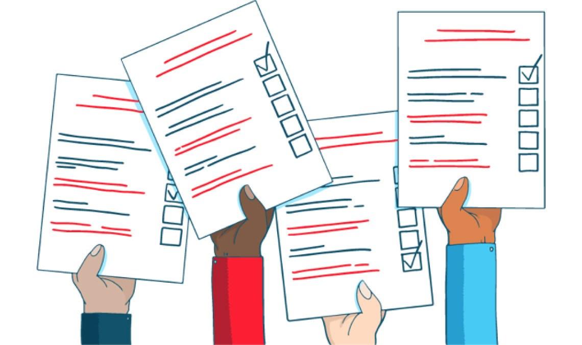 illustration of hands holding ballots